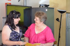New PFLAG National Spokesperson Donna Goddard gets some tips from Shelley Argent