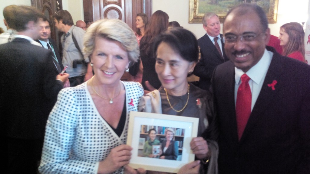 Foreign minister Julie Bishop, Nobel Laureate and UNAIDS Goodwill Ambassador Aung San Suu Kyi and UNAIDS executive director Michel Sidibe in Melbourne over the weekened. (Picture: MILES HEFFERNAN)