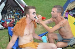 Ben Grill paints his lion at Tropical Fruits Rainbow Circus