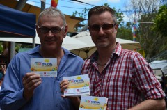 Eumundi Markets' Peter Homan (L) and Sunshine Coast Pride's Chris Cooper and showing their pride