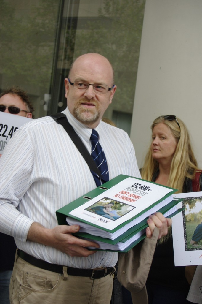 Paul Toner in Sydney to deliver the petition with 130,000+ signatures to help keep Ali Choudhry in Australia. (Photo credit: Star Observer)