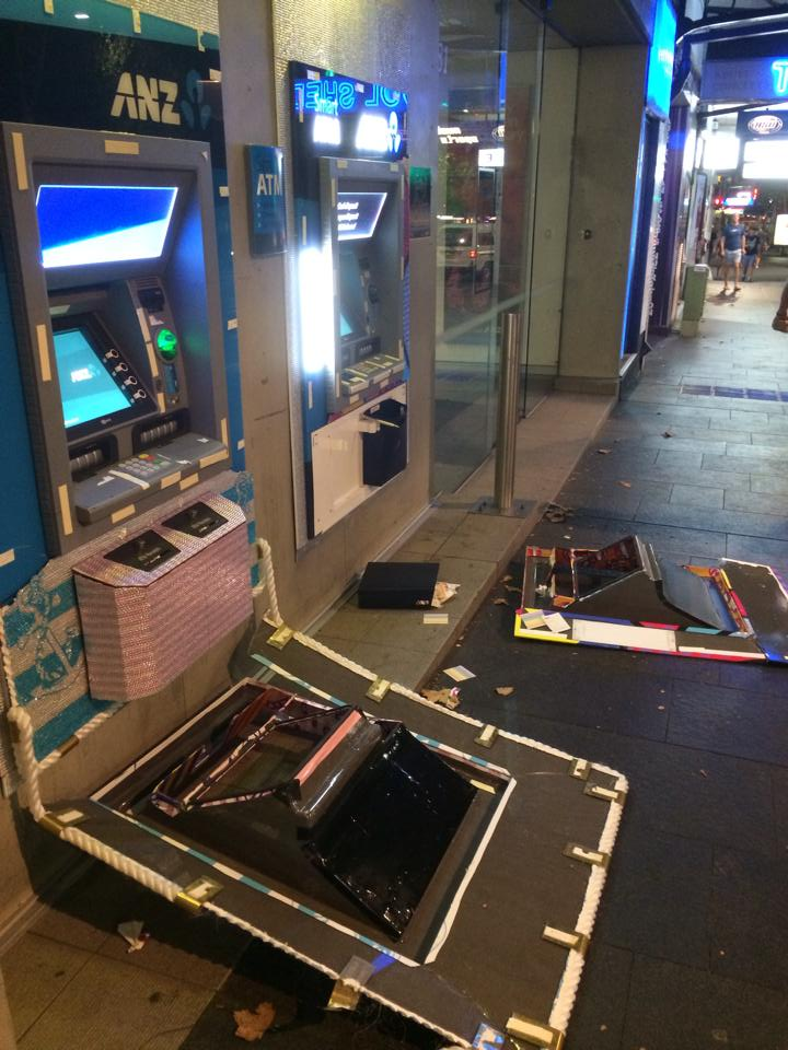 The vandalised GAYTMs on Oxford St. (Photo: Maxi Shield)