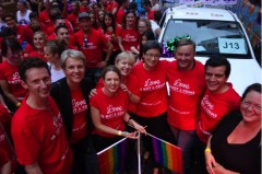 Rainbow Labor Float including Stephen Jones, Tanya Plibersek, Louise Pratt, Verity Firth, Penny Wong, Anthony Albanese and Sam Dastyari and Jenny McAllister
