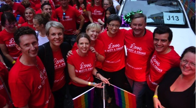 Rainbow Labor's Mardi Gras float including Stephen Jones, Tanya Plibersek, Louise Pratt, Verity Firth, Penny Wong, Anthony Albanese, Sam Dastyari and Penny Sharpe