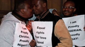 Nigerian couple kiss