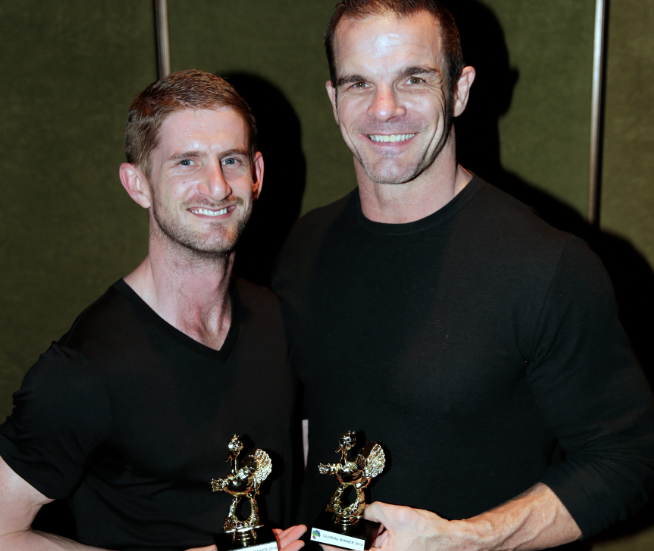 Ian Roberts with his boyfriend at the GLORIAs (Picture: Ann-Marie Calilhanna; Star Observer)