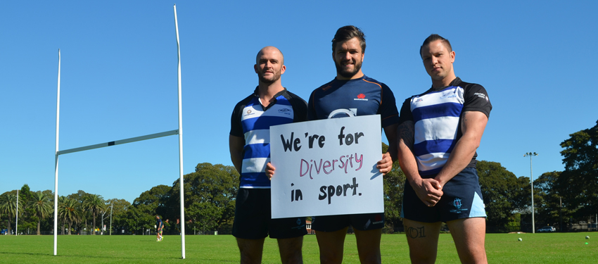 Adam Ashley-Cooper (centre) with members of Sydney Convicts at the launch of Out in the Field (Photo: Benedict Brook; Star Observer)