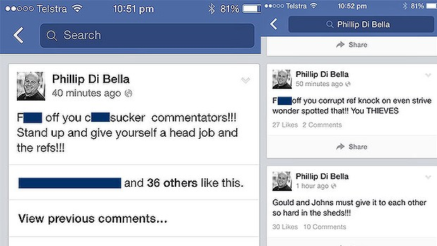 Screen grabs of Di Bella's outbursts. (Source: Brisbane Times; Fairfax)