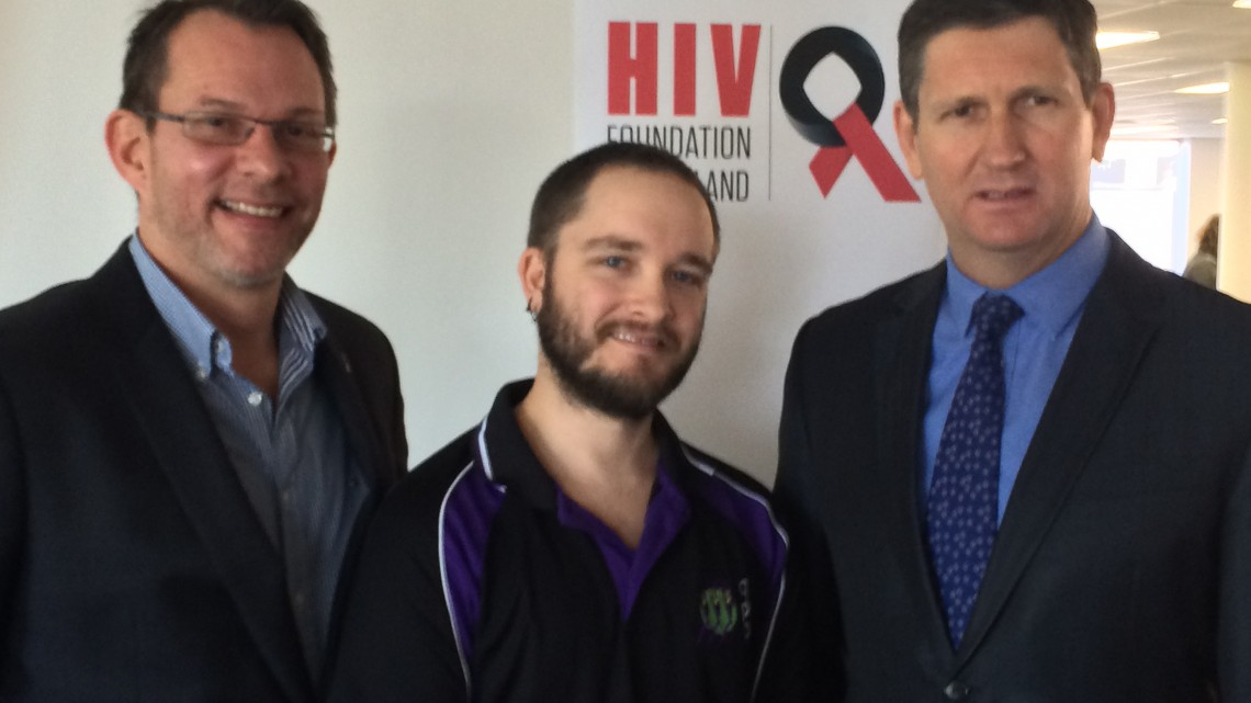 (Main image: L-R - HIVFQ chief exective Tony Majer, Queensland Positive People Peer Support and Communications Officer Jesse Hooper and Queensland Health Minister Lawrence Springborg at the launch yesterday. PHOTO: David Alexander; Star Observer)