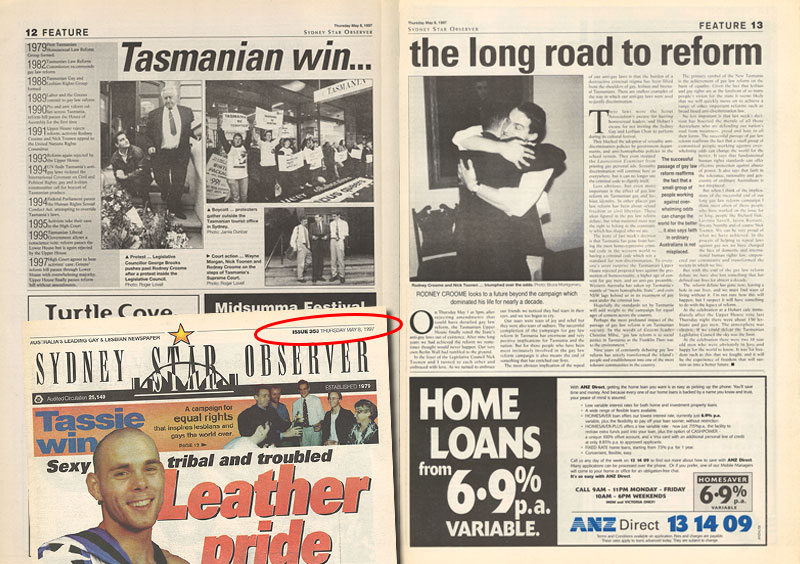How the Star Observer (then known as Sydney Star Observer) covered the decriminalisation of homosexuality in Tasmania in its May 8, 1997 issue. (Source: Star Observer archives)