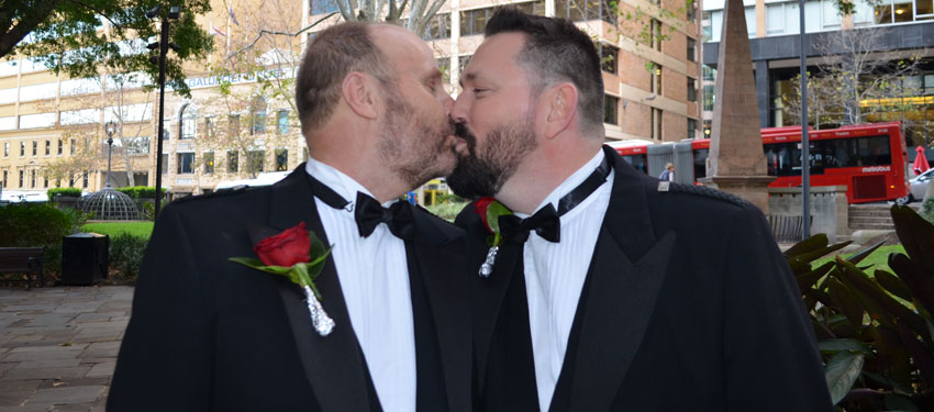 Gordon Stevenson and Peter Fraser made history this afternoon becoming the first same-sex couple to wed at a UK consulate. (Photo: Benedict Brook; Star Observer)