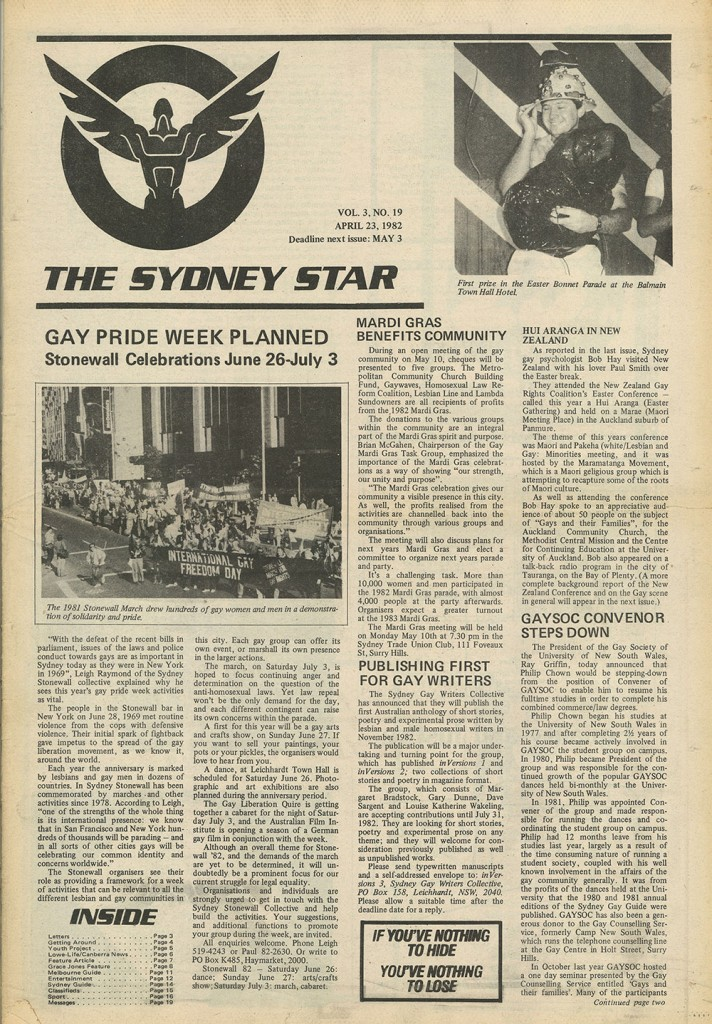Star Observer's April 23, 1982 edition (Source: Star Observer Archives)