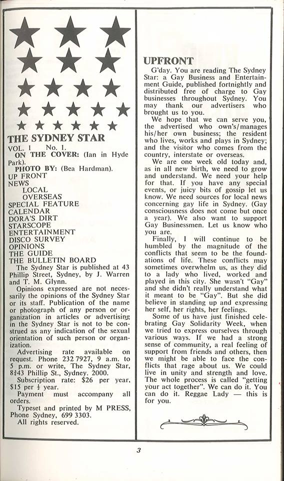Star Observer: Issue 1, page 3 - first editorial column by Michael Glynn (Source: Australian Lesbian & Gay Archives)