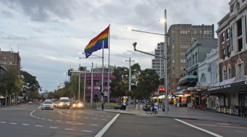 Taylor Sq rainbow flag artist impression
