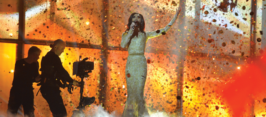 Conchita Wurst performs Rise Like A Phoenix at this year's Eurovision Song Contest.