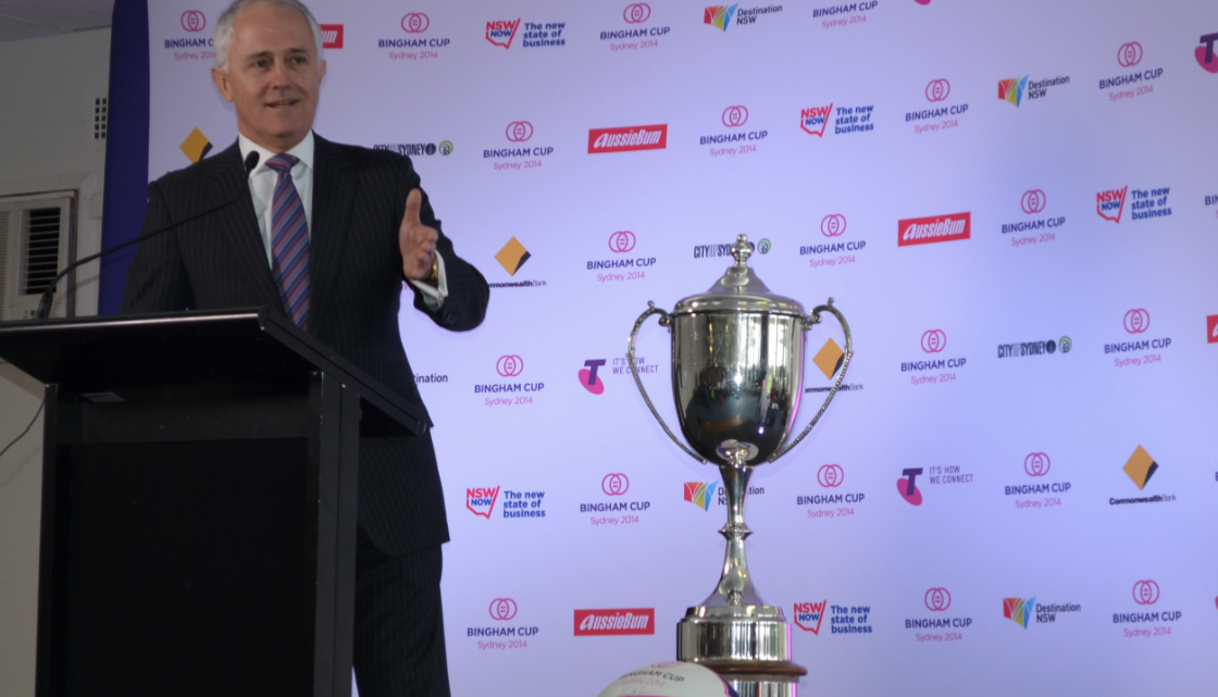 Malcolm Turnbull at the 2014 Bingham Cup Sydney - the world cup of gay rugby union (Photo: Benedict Brook; Star Observer)