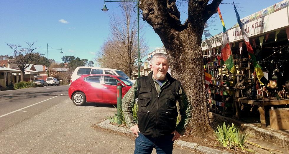 Festival organiser Andy Stevens on Yackandandah's main street