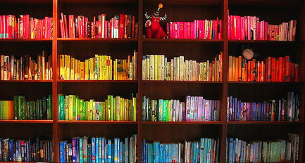 queer gay books bookshelf LGBTI book rainbow