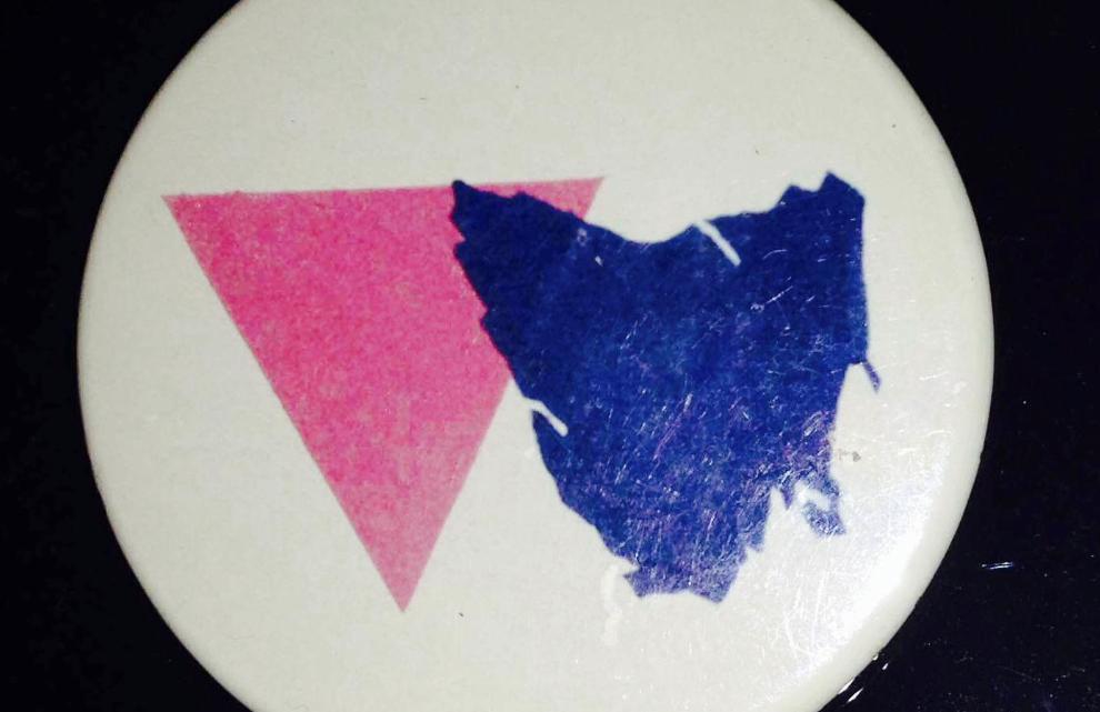 Rodney Croome's badge tasmania pink gay