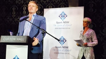 Bingham Cup Sydney president Andrew Purchas accepts the award for best sporting event at an awards ceremony in Sydney last night. (Supplied photo)