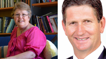 PFLAG national spokesperson Shelley Argent and Queensland Oppsition Leader Lawrence Springborg