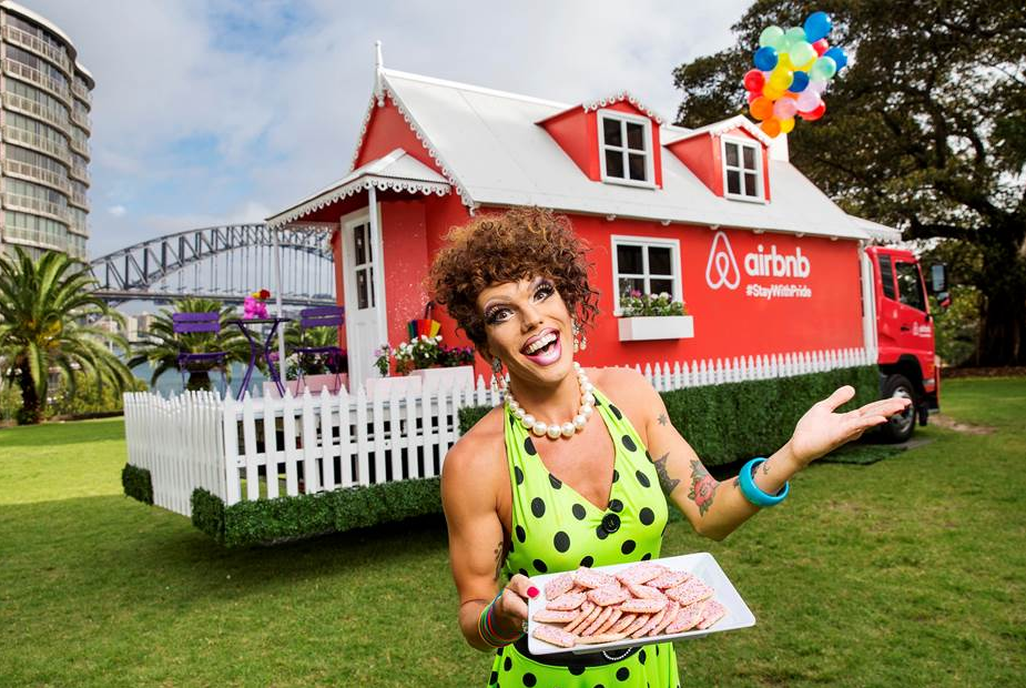 sydney drag queen heather 1 at the launch of the pop up airbnb house airbnb sydney