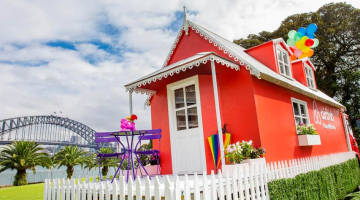 Airbnb's pop-up home for the Sydney Gay and Lesbian Mardi Gras is the first of its kind in the world: the lucky winner will stay in it for a night, before marching in the Parade the next day in the same house. (Supplied photo)