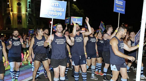 The Sydney Convicts were part of the anti-homophobia in sport contingent in this year's Sydney Gay and Lesbian Mardi Gras Parade. (Photo: Ann-Marie Calilhanna; Star Observer)