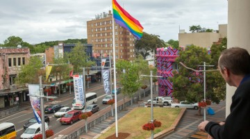The rainbow flag at Taylor Square.
