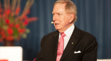 Former High Court judge Michael Kirby speaking at the launch of University of Sydney's Ally network. (PHOTO: Benedict Brook; Star Observer)