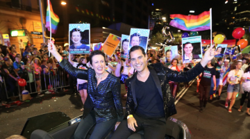 City of Sydney Lord Mayor Clover Moore and Sydney state independent MP Alex Greenwich in the 2014 Sydney Gay and Lesbian Mardi Gras Parade (supplied photo)