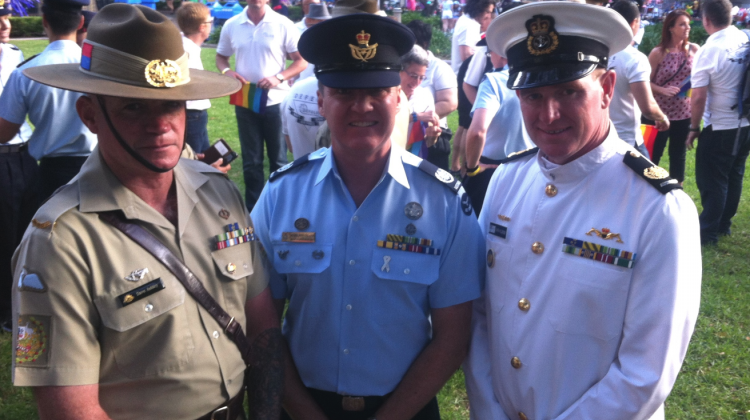defence force leaders marching in the Sydney Gay and Lesbian Mardi Gras Parade