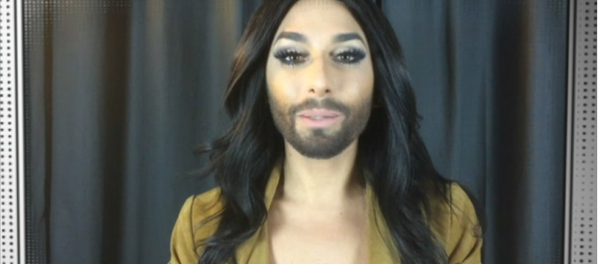 Eurovision2014 winner Conchita Wurst during her brief appearance during SBS' Sydney Gay and Lesbian Mardi Gras coverage on Sunday night.