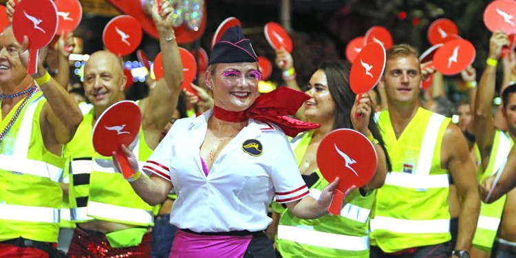 "The Qantas ""gay380"" contingent in this year's Sydney Gay and Lesbian Mardi Gras Parade. (PHOTO: Ann-Marie Calilhanna; Star Observer)"
