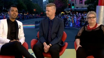 Patrick Abboud, Tom Ballard, and Magda Szubanksi hosted SBS' coverage of the Sydney Gay and Lesbian Mardi Gras.