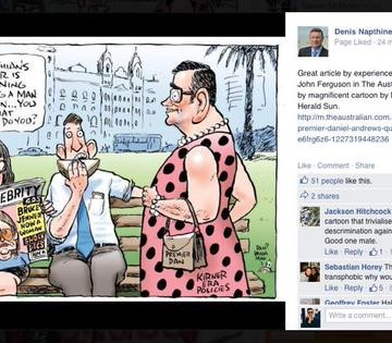 The Herald Sun cartoon by Mark Knight, as posted on social media by Denis Nathine.
