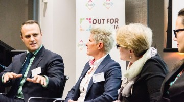 Human rights commissioner Tim Wilson speaking at the Melbourne launch of Out For Australia. (Photo: Matto Lucas)