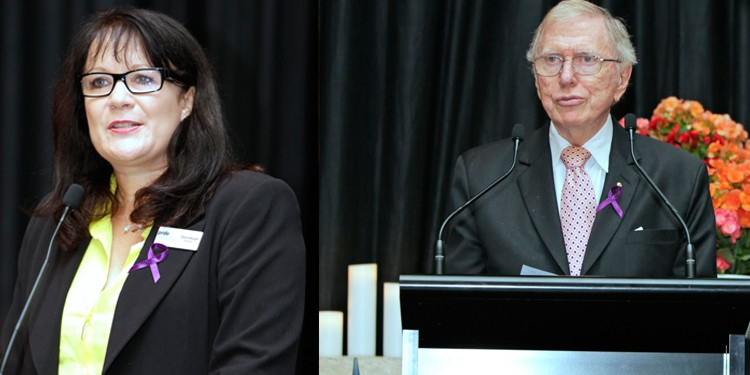 Pride in Diversity director Dawn Hough and former High Court judge Michael Kirby speaking at the 2014 Australian Workplace Equality Index luncheon. (Photos: Ann-Marie Calilhanna; Star Observer)