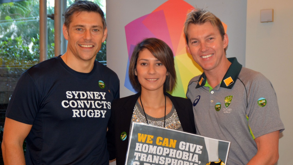 The head of CommBank's LGBTI staff network Unity, David Brine and staff member Storme Poutama with former Australian cricketer Brett Lee
