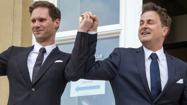 Luxembourg's Prime Minister Xavier Bettel (right) has married Gauthier Destenay (left), a Belgian architect.