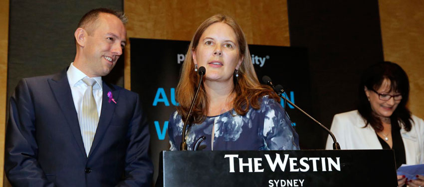 Suzi Russell-Guildford accepts the AWEI award for PricewaterhouseCoopers, the most LGBTI-friendly workplace in Australia for the second year in a row. (PHOTO: Ann-Marie Calilhanna; Star Observer)