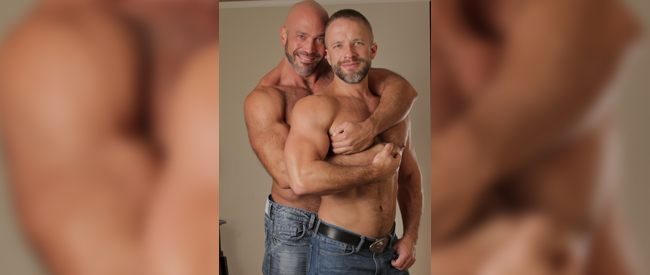 Dirk Caber (front) with husband Jesse Jackman. (Supplied photo)