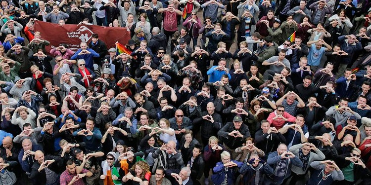 The crowd at Sydney's Taylor Square during yesterday's marriage equality rally. (PHOTO: Ann-Marie Calilhanna; Star Observer)