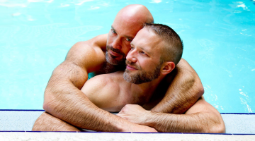 Jesse Jackman (back) with husband Dirk Caber. (Supplied photo)