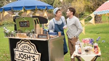 Josh (Josh Thomas) and Arnold (Keegan Joyce) at Josh's coffee cart. PHOTO: Ben Timony