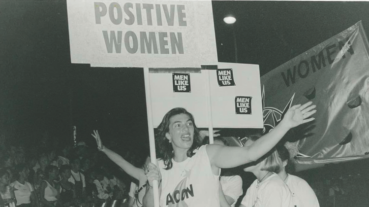 ACON'S Positive Women Mardi Gras parade float, 1996. ACON has supported women since 1985 by providing a range of services and support groups. (Source: Star Observer archives)