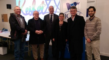 (L-R) Alan Samuel, Philip Bliss, Jonathan Barnett, Jennifer Huppert, Mark Cherny, Jonathan Cohen. (PHOTO: Michael Barnett)