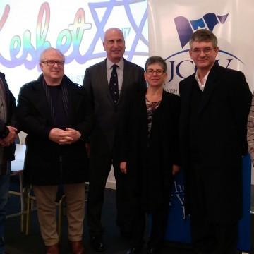 (L-R) Alan Samuel, Philip Bliss, Jonathan Barnett, Jennifer Huppert, Mark Cherny, Jonathan Cohen. (PHOTO: Michael Barnett)