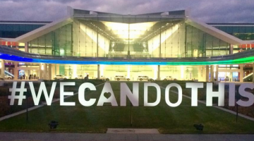The #wecandothis sign at Canberra Airport on Sunday night (Photo source: Australian Marriage Equality's Twitter account)