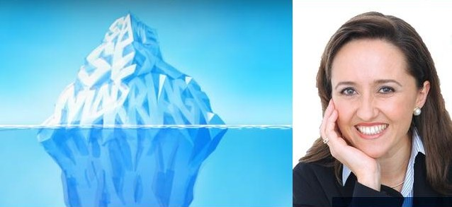 The giant iceberg motif of Marriage Alliance, and its spokesperson Sophie York.